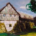Haus mit Stützmauer - 1