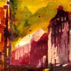 Straßenecke in Rot