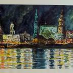 Dresdner Panorama bei Nacht - 1