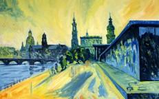 Silhouette Dresden Blick Altstadt vom Kongresszentrum